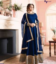 Buy Blue Embroidered Banglori Silk Abaya Semi-stitched Salwar Suit abaya-suit online
