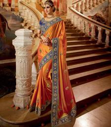 Buy Orange embroidered satin saree with blouse satin-saree online