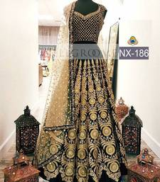 Buy Black embroidered net unstitched lehenga black-friday-deal-sale online