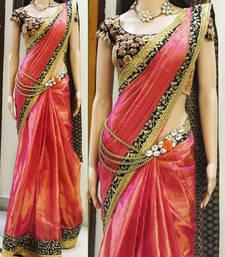 Buy Orange embroidered art silk saree with blouse wedding-saree online