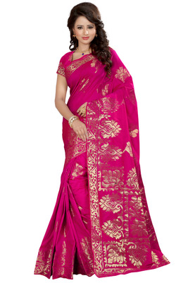 Pink plain tissue saree with blouse