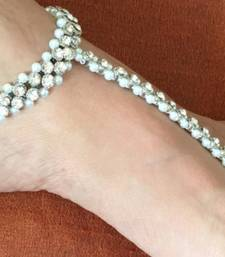 Buy SILVER TONE CRYSTAL pearl chain Panja  ANKLETS PAYAL PAIR toering attached anklet online