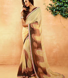 Buy Beige printed crepe saree with blouse crepe-saree online