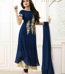 Buy Blue  Embroidered Gerogette Anarkali Semi-stitched Salwar Suit semi-stitched-salwar-suit online