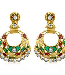 Buy Delightful Gold Plated Chandbali Earring For Women danglers-drop online
