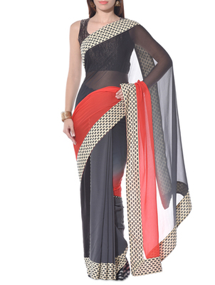 Red and gray embroidery pure ggt saree
