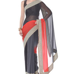 Buy Red and gray embroidery pure ggt saree georgette-saree online