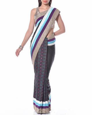 Black ikat saree ikat saree with blouse