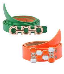 """Buy """" Floroscent Orange and Green Color"""" Belt Combo For Womens gifts-for-sister online"""