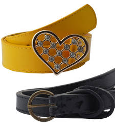"Buy "" Yellow and Black Color"" Belt Combo For Womens gifts-for-sister online"