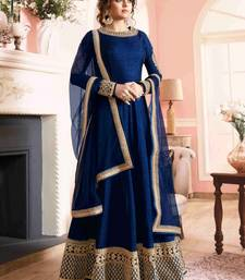 Buy Blue banglory silk embroidered semi stitched long anarkali suit (Premium quality) anarkali-salwar-kameez online