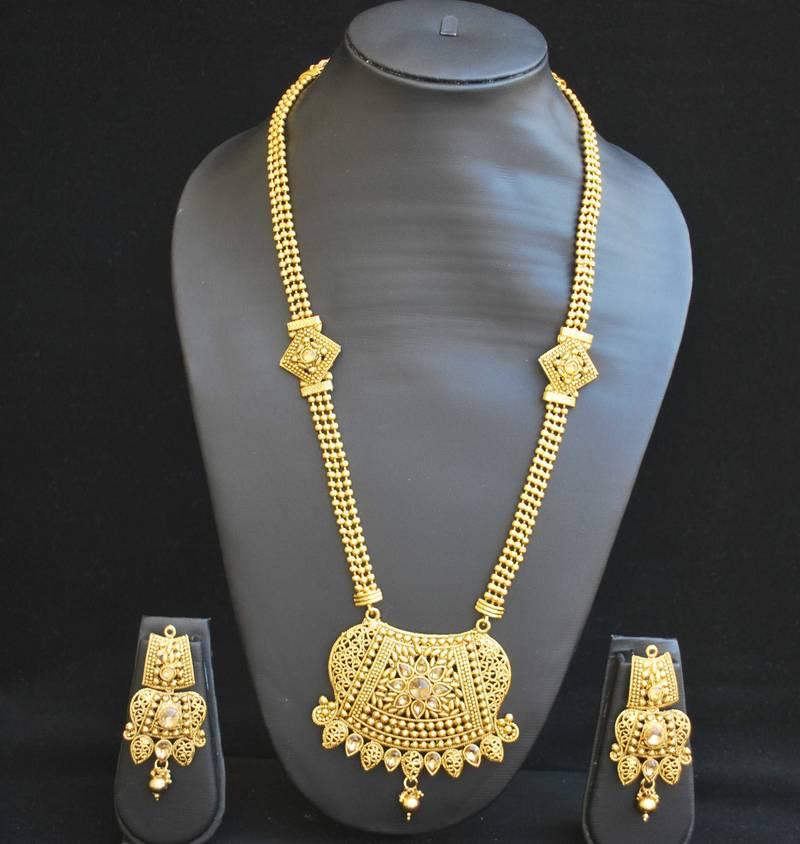 Buy Traditional rajwadi design long necklace set Online