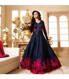 Buy Blue Embroidered Banglori Silk Anarkali Semi-stitched Indowestrn Suit indowestern online