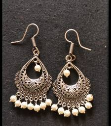 Buy Oxidized Royal Silver Detailed Carved Dangler Earrings danglers-drop online