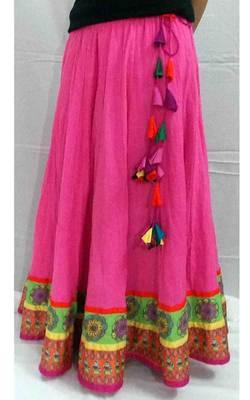 Candy Pink Ethnic skater long skirt
