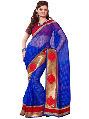 Blue Thousand Butti Art Kora Exclusive Designer Saree