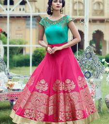 Buy Sky blue and pink embroidred banglori silk semi stitched indian gown party-wear-gown online