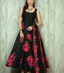 Buy Black embroidered georgette semi stitched indian anarkali dress anarkali-salwar-kameez online
