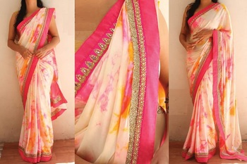 Off white embroidered satin saree with blouse