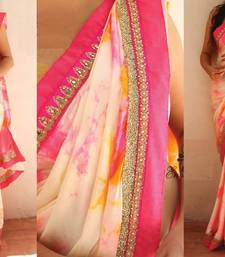 Buy Off white embroidered satin saree with blouse satin-saree online