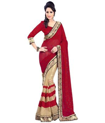 raksha bandhan sarees Red & Cream embroidered georgette saree with blouse