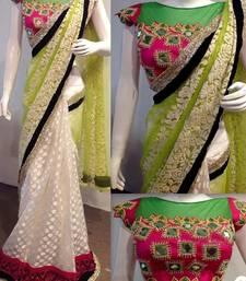 Buy Cream embroidered art silk saree with blouse art-silk-saree online