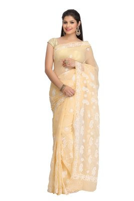 Fawn embroidred georgette saree with blouse