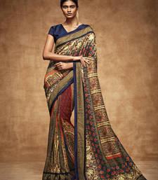 Buy Cream printed tussar silk saree with blouse traditional-saree online