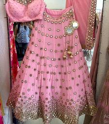 Buy Baby pink embroidered net unstitched lehenga black-friday-deal-sale online