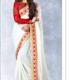 Buy white embroidered georgette sare with blouse traditional-saree online