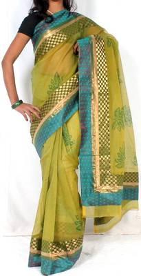 Designer supernet Printed fancy pallu saree