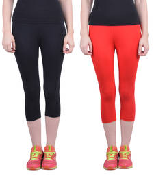 Buy Black and Red plain Cotton capris-3-4-pants capris-3-4-pant online
