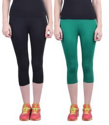 Buy Black and Pak Green plain Cotton capris-3-4-pants capris-3-4-pant online