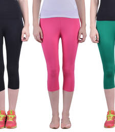 Buy Black and Romantic Rani and Pak Green plain Cotton capris-3-4-pants capris-3-4-pant online