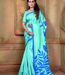 Buy Aqua blue printed bhagalpuri silk saree traditional-saree online