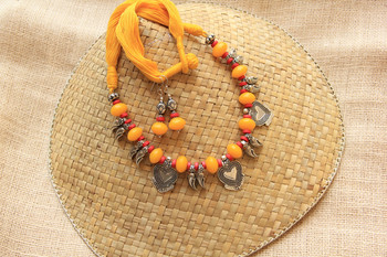 Yellow Metal stone necklace-sets