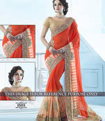 Buy Orange embroidered georgette saree with blouse