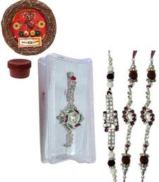 Buy Eye-catching of four ad and bracelet rakhis with designer thali bracelet-rakhi online
