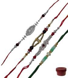 Buy Fancy ad stone and beads rakhi threads thread-rakhi online