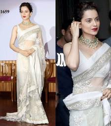 Buy Off white embroidered georgette saree with blouse other-actress-saree online