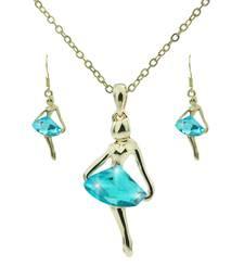 """Buy """"Dancing Girl Blue"""" Crystal Necklace Set Pendant online"""