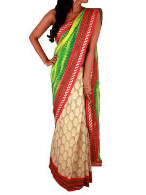 Sweta Sutariya's  - Green Yellow Tie Dye and Golden Tissue Silk half and half saree with Bright Pink Silk border