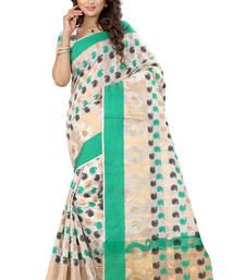 Buy Cream woven cotton poly saree with blouse cotton-saree online