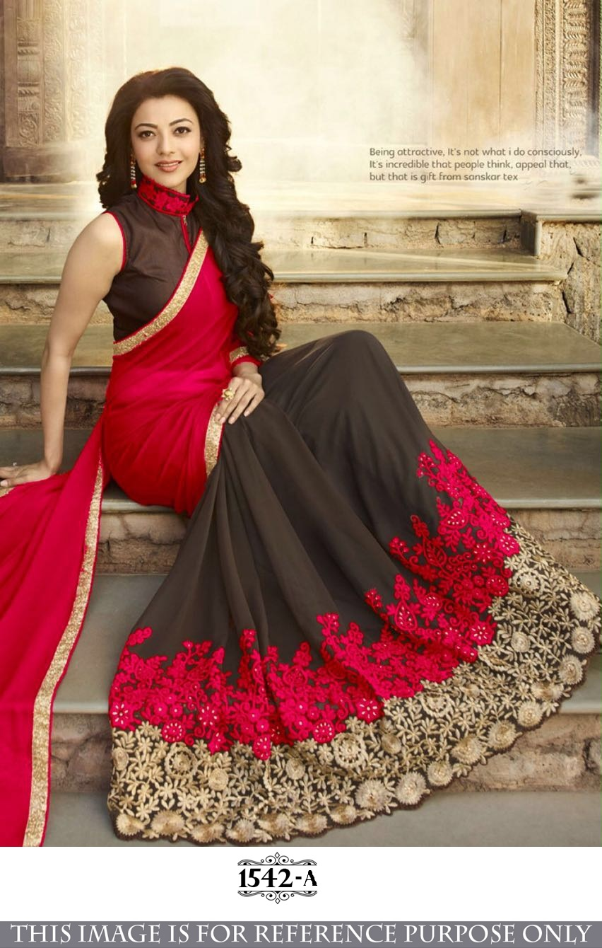 Red Embroidered Georgette Saree With Blouse Wedding Online