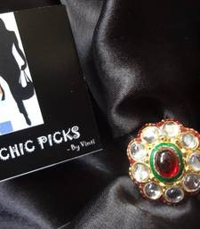 Buy Oval Shaped Kundan Adjustable Ring with Red Stone Ring online