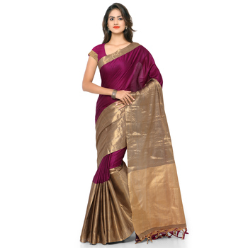 Burgundy hand woven cotton silk saree with blouse