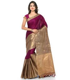 Buy Burgundy hand woven cotton silk saree with blouse handloom-saree online