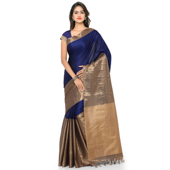 Navy blue hand woven cotton silk saree with blouse