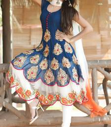 Buy Blue embroidred georgette semi stitched salwar with dupatta indian-dress online