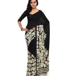 Buy Black printed georgette saree with blouse printed-saree online